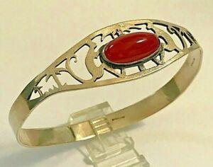 Antique Art Nouveau Sterling Carnelian Cabochon Pierced Monkey Design Bracelet