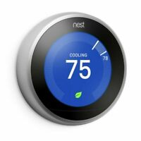 Nest 3rd Generation Learning Stainless Steel Programmable Thermostat NO BASE