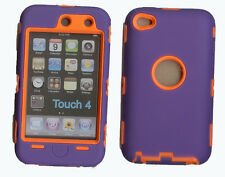 Best Protection Case / Cover for iPOD TOUCH 4 PURPLE / ORANGE Free Stylus!!!