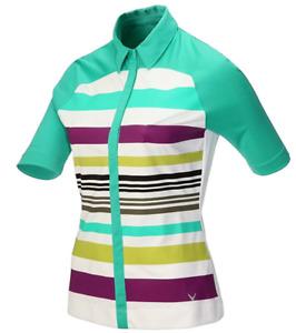 Callaway Womens Striped Golf Polo Shirt Green Multi Colour Size XS