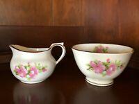 Vintage Mini Creamer and Sugar Bowl Set Sutherland Bone China Peach Blossom