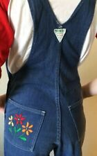 Vintage OshKosh Overalls Floral Embroidered Juniors USA  Bell Bottom Denim
