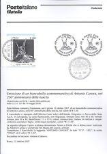 ITALIA 2007 ANTONIO CASANOVA  BOLLETTINO COMPLETO DI FRANCOBOLLI FDC