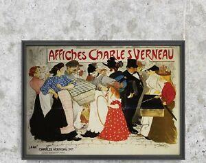 Affiches Charles Verneau, La Rue, Vintage Poster, People and Street, Beige