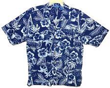 Sz M Hawaiian Aloha Shirt OP Ocean Pacific Tropical Floral Cotton/Rayon Navy