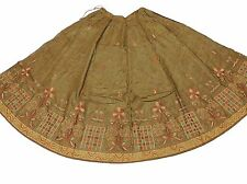 Olive Ladies Party Long Skirt Ethnic Bollywood Embroidered Summer Dress 34""