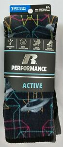 NWT Russell Performance Active Crew Sock Boy's Large (3 Pairs) Space Black White