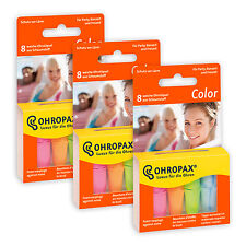 3x Packs - Ohropax Colour Earplugs - Coloured Soft Foam Earplugs - Blocks noise