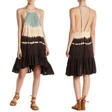 New One Teaspoon Plantation Tie-Dye Open Back Halter Ruffle High Low Dress Sz XS