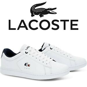 Lacoste Sneaker Schuhe Herren Damen Turnschuhe CARNABY EVO Weiß Blau