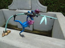 2 grenouilles exotique sur un bambou en bronze patiné, statue grenouille bronze