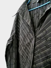 Ladies Katies shirt dark brown w stripes & embroidered pattern 3/4 sl 14 - 16