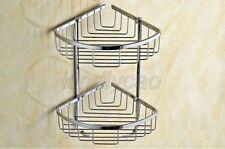 2 Layer Triangular Shower Shelf Bathroom Corner bath Rack Storage Basket Kba525