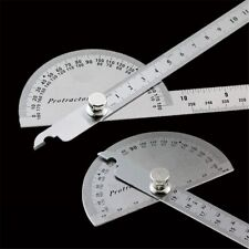 Stainless Steel Protractor Round Head Rotary Angle Rule Metal Arm Measuring Tool