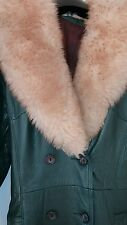 Vintage leather coat  green trimmed lambswool  size 12