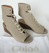 280bc48f703  730 Authentic CHLOE  INES  Lace-Up Canvas GLADIATOR WEDGE Sandals EUR-37