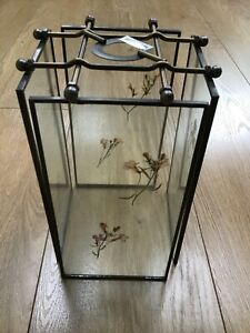 Dried Flower Glass Panel Lantern / LightShade (New in Box)