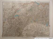 Debes - Landkarte Alpenländer, westlicher Teil 1894, Lithographie, Heymer