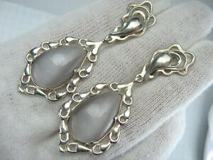 925 Sterling Silver Earrings Dangling Openwork Cat's Eye Pear Cabochon Heavy 148