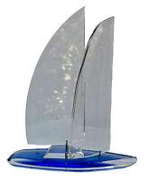 """Vintage 11.5"""" Blue Lucite Sculpture Sailboat Artist Signed J. Fenri 99"""