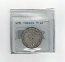 **1938**,Coin Mart Graded Canadian Silver 50 Cent, **VF-20**