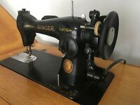 Vintage Singer Knee Control Sewing Machine in Beautiful Cabinet