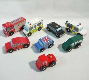 Wooden Railway Train - Vehicles Cars Fire Police Large Bundle - Thomas Brio ELC