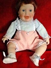 """Porcelain Baby Doll Danbury Mint Cloth Body Blue Glass Eyes 10"""" Sitting-So Cute!"""