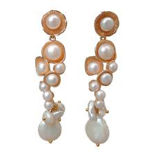 Freshwater White Pearl Gold Plated Dangle Stud Earrings Female Jewelry