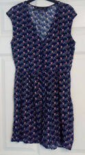 Zara Blue Owl Print Sleeveless Jersey Dress UK Size Medium Pockets Elastic Waist