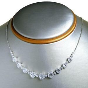 Striking 2.37 TCW Round & Baguette Cut Diamonds Necklace In Solid 14k White Gold