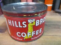 HILLS BROS 1 LB COFFEE CAN RED CAN BRAND STORE TIN ORIGINAL MID 1900'S PACKED
