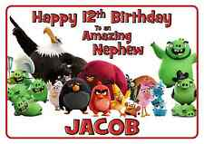 angry birds personalised A5 birthday card grandson son nephew daughter name age