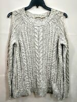 Soft Surroundings Women's Sweater Cold Shoulder Light Grey Small