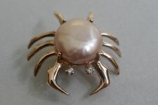 Adorable 14K rose gold Crab Brooch / Lapel Pin - Button Pearl & Diamond