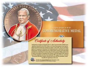 Colorized POPE JOHN PAUL II *Commemorative Medal* Bronze Coin U.S. Congressional