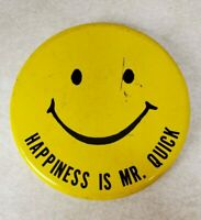 Vintage Happiness is Mr. Quick Pinback Button - Yellow Smiley Face Button