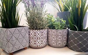 Set 2-4 Concrete Pots Indoor Outdoor Plant Flower Pot Holder Home Decoration