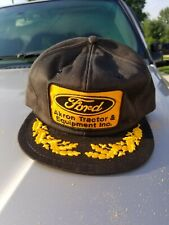 Vintage K Brand Ford Akron Tractor & Equipment Hat Patch Trucker Gold Leaf Snap