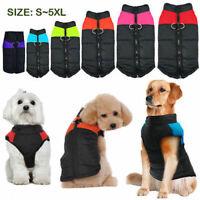 Waterproof Dog Clothes Winter Warm Padded Apparel Pet Cat Coat Vest Jacket S-5XL
