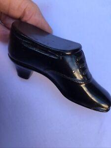 Antique Victorian Papier Mache Black Lacquer Shoe Vesta Snuff Elegant