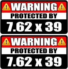 "2 - 3"" 7.62 x 39 mm Protected By Decal SET Warning Box Gun Sticker AK-47 WS3"