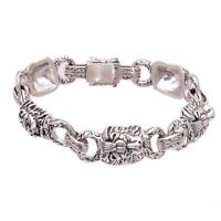 92.5 Solid Sterling Silver Oxidize Antique Design Curb Chain Style Bracelet Length-7 Handmade Vintage Style Bracelet PJ-523 Weight-10.52 Gm