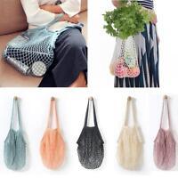 Reusable Fruit String Grocery Shopper Cotton Tote Mesh Woven Net Shoulder Bag