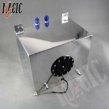 8 Gallon 30.5 Liter Racing Drift Fuel Cell Tank Polished Aluminum + Level Sender