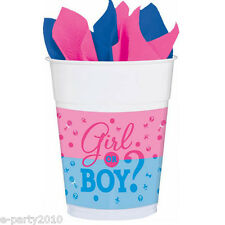 BABY SHOWER Girl or Boy 16oz PLASTIC CUPS (25) ~ Gender Reveal Party Supplies