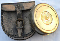 ANTIQUE STYLE MARINE-POEM ENGRAVED BRASS COMPASS WITH LEATHER BOX HALLOWEEN GIFT