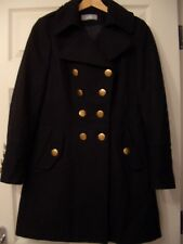 WALLIS Navy Military Style Double-Breasted Coat, Wool Mix, Size 8 NEW
