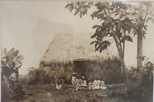 1890 VIntage Albumen Photo By Dickson Of A Hawaiian Family And Grass Hut