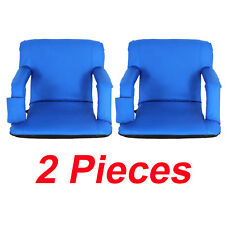 2 Pieces Blue Wide Stadium Seat Chair Bleachers Benches - 5 Reclining Positions